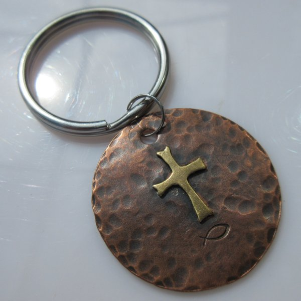 God & Country Cross Disc Key Ring in Copper and Brass